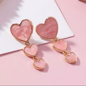 BOGO! Pink 3 Heart Drop Earrings